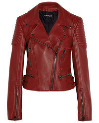 Leather biker jacket red medium 4394148