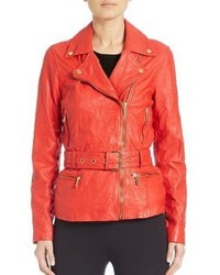 MICHAEL Michael Kors Michl Michl Kors Leather Belted Moto Jacket
