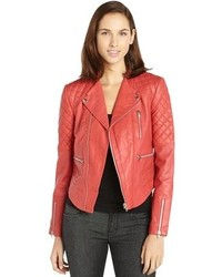 Walter Red Leather Mindy Jacket With Quilted Detailing