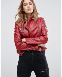 Mango Stud Detail Leather Look Biker Jacket