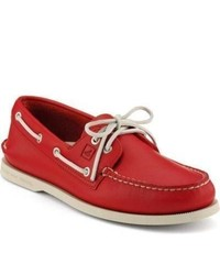 Sperry topsider shoes school spirit authentic original 2 eye boat shoe red leather medium 318419