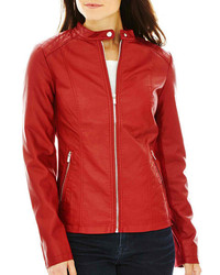 jcpenney Ana Ana Faux Leather Scuba Jacket