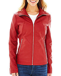 Jcpenney Worthington Wing Collar Faux Leather Scuba Jacket