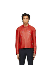 Maison Margiela Red Leather 5 Zip Jacket