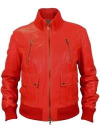 Red leather bomber jacket medium 136244