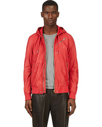 Diesel Red Leather Hooded L Hasso Jacket