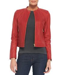 Seamed zip front leather jacket medium 136246