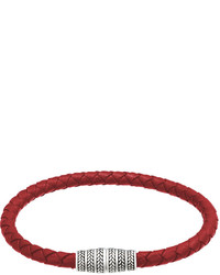 Jan Leslie Braided Leather Magnetic Bracelet Red
