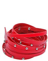 ChicNova Red Skinny Leather Rivets Wrap Bracelet