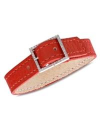Crislu Bracelet Red Leather Cubic Zirconia Bracelet