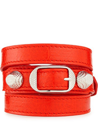 Balenciaga Giant 12 Leather Bracelet Red