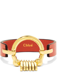 Chloé Leather And Gold Tone Bracelet Red