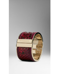 Burberry Leather Trim Painted Python Cuff