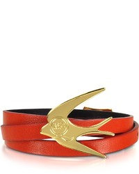McQ by Alexander McQueen Mcq Alexander Mcqueen Fire Red Smooth Nappa Leather Swallow Wrap Bracelet