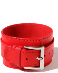 ChicNova Red Wide Leather Bracelet With Pin Buckle Detail