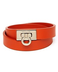 Salvatore Ferragamo Leather Gancini Double Wrap Bracelet