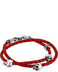 King Baby Studio Thin Braided Red Leather W Hamlet Skulls Double Wrap Bracelet Bracelet