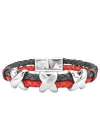 West Coast Jewelry Leather And Stainless Steel Dual Banded Black And Red Bracelet