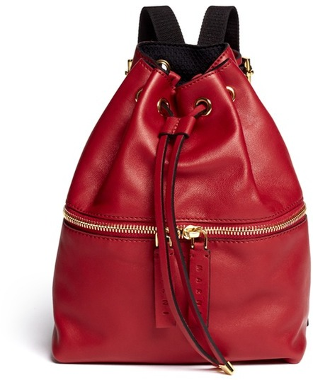 ... Red Leather Bucket Bags Marni Mini Leather Bucket Backpack ... c8167157fb217