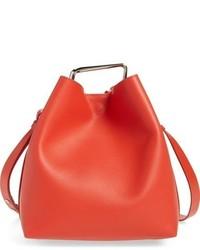 Mini quill leather bucket bag black medium 765822