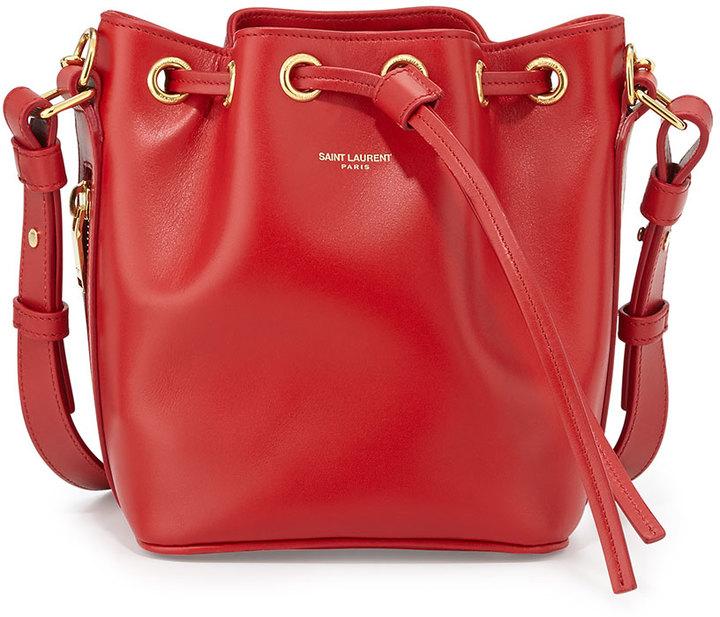 ef1b5318b1fb ... Leather Bucket Bags Saint Laurent Small Bucket Crossbody Bag Red ...