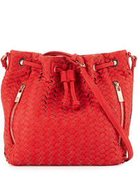 Neiman Marcus Woven Faux Leather Bucket Bag Poppy