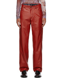 Y/Project Red Faux Leather Boxer Trousers