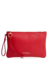Salvatore Ferragamo Amery Leather Wristlet Clutch Red