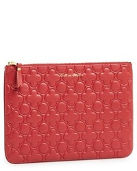 Large embossed leather pouch red medium 420361