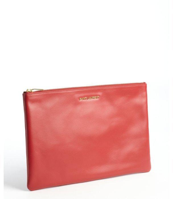 142fc3c0369 Saint Laurent Red Leather Large Zip Pouch, $529 | Bluefly ...