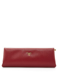 Prada Saffiano East West Frame Clutch Bag Wine