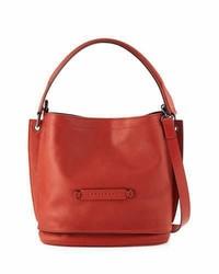 Longchamp 20 Leather Crossbody Bag Poppy Red