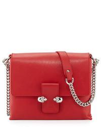 Alexander McQueen Twin Skull Leather Crossbody Bag Red