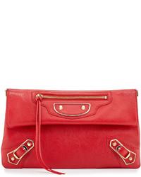 Balenciaga Metallic Edge Envelope Crossbody Bag Red