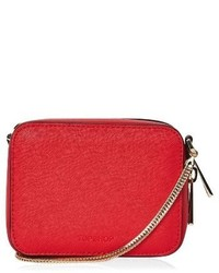 Topshop By Ona Boxy Faux Leather Crossbody Bag Red