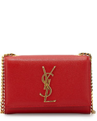 Saint Laurent Cassandre Small Pebbled Leather Logo Crossbody Bag Red