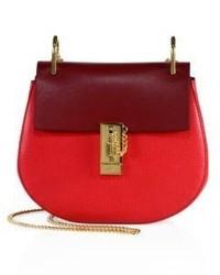 Chloé Chloe Drew Small Two Tone Leather Saddle Crossbody Bag