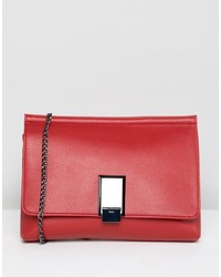 ASOS DESIGN Chunky Pinch Lock Clutch With Detachable Chain Strap