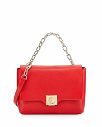 Versace Collection Fold Over Leather Crossbody Bag Red