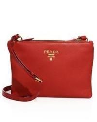 Prada Daino Double Zip Leather Crossbody Bag