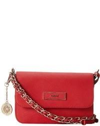 DKNY Bryant Park Saffiano Leather Small Flap Crossbody W Adjustable Chain Handle Cross Body Handbags