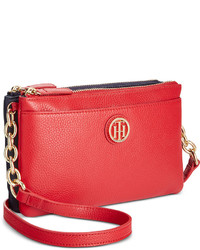 Tommy Hilfiger Double Zip Colorblocked Pebble Leather Crossbody