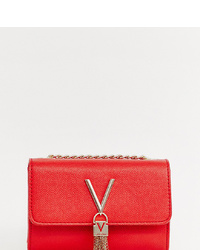 Valentino by Mario Valentino Foldover Tassel Cross Body Bag In Red