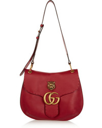 Gucci Gg Marmont Textured Leather Shoulder Bag Claret