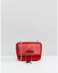 Missguided Gold Clasp Chain Cross Body Bag In Red