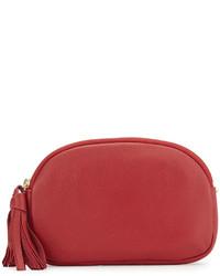 Neiman Marcus Greco Leather Crossbody Bag Lipstick Red