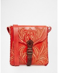 Hiptipico Handmade Tooled Red Leather Cross Body Bag