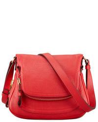 Tom Ford Jennifer Calfskin Crossbody Bag Flame Red