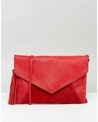 Asos Leather Envelope Cross Body Bag With Tassel