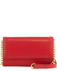 Neiman Marcus Leather Phone Case Crossbody Bag Red